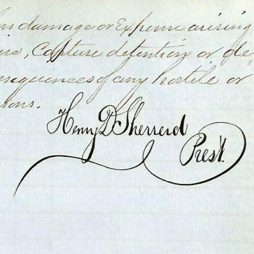 1865 Marine Shipping Document Insurance Ledger Book Henry D. Sherrerd Signatures
