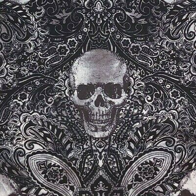 R 1 YARD Jeering Skulls WICKED 100% Cotton Quilting Fabric Paisley Halloween