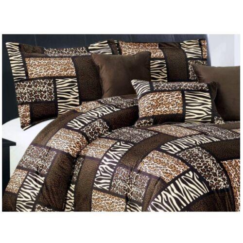 7 Piee QUEEN Size Safari Comforter set - Leopard, Tiger Zebr