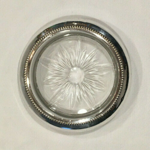 "Antique B-I Sterling Silver Rimmed Glass Coaster Beaded Starburst Design ~4 1/2"""