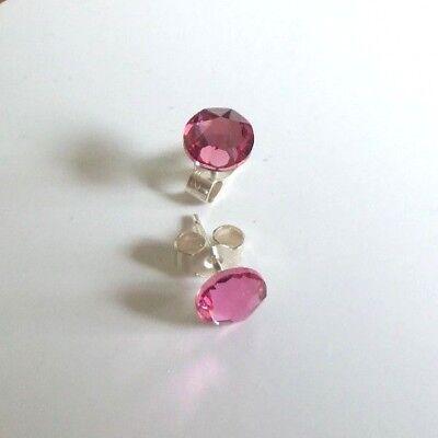 """Solid Sterling Silver & Swarovski Crystal 6.4mm stud earrings Rose """"pink"""""""