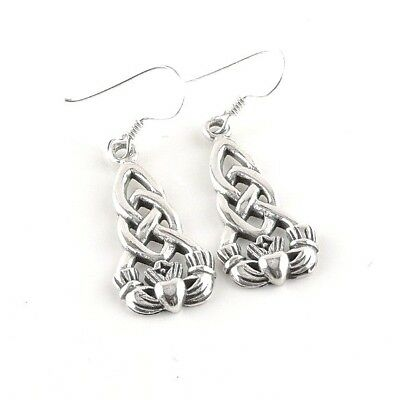 (Sterling Silver Celtic Claddagh Dangle Earrings - Free Gift Packaging)
