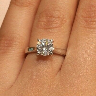 DIAMOND ENGAGEMENT RING 18K WHITE GOLD 1 CARAT SOLITAIRE SIZE 6
