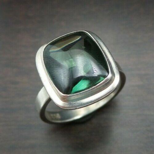 Vintage 1930s Art Deco European Sterling Silver & Tourmaline Designer Ring