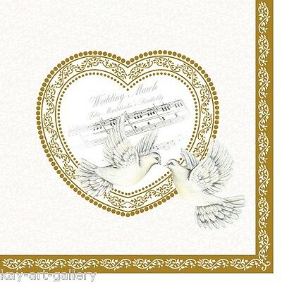 20  Paper Table Napkins Wedding Elegant Style Ceremony Exclusive / Gold Heart