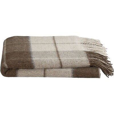 Crate & Barrel MATEO PLAID ALPACA Throw- NEUTRAL COLORS! New with tags!