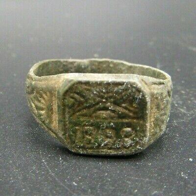British bronze finger ring dated 1898 metal detecting find