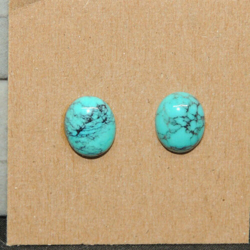 Turquoise Cabochon 8x10mm with 3.5mm dome from Nevada set of 2 (17560)