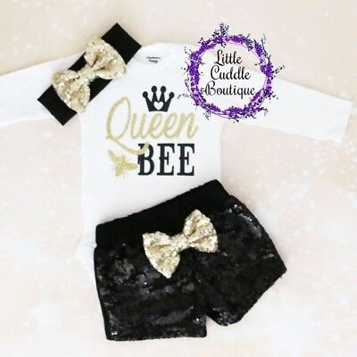 Queen Bee Outfit (Queen Bee Baby Shorts Outfit, Bee Birthday Bodysuit, Newborn Baby Outfit, Bee)