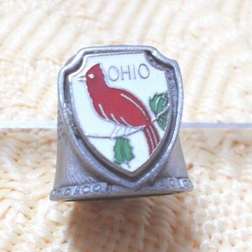 """""""Ohio"""" Souvenir Collectors Thimble With Red Cardinal - Fort Pewter"""