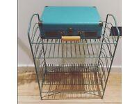 Blue Crosley briefcase record player