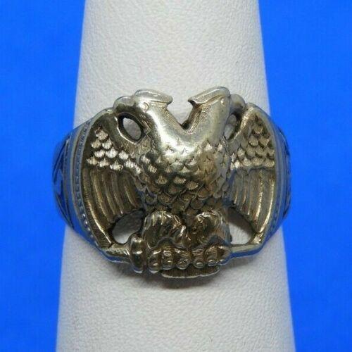 14K White Gold & Black Enamel 32nd Degree Double Headed Eagle Masonic Ring Sz 7
