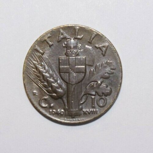 1940, 10 Centesimi Italy High Grade Value Coin