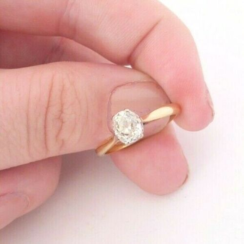 18ct gold platinum 85 point old mine cut diamond solitaire ring, Victorian