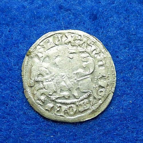 Silver Medieval Original Coin 1/2 Grosch, Alexander Jagiellon Poland, Lithuania.