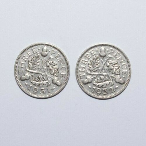 1931 & 1932, Threepence Great Britain Silver a Lot of 2 High Value Coins