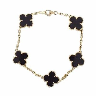Van Cleef and Arpels Vintage Alhambra Black Onyx Bracelet in 18K Yellow Gold