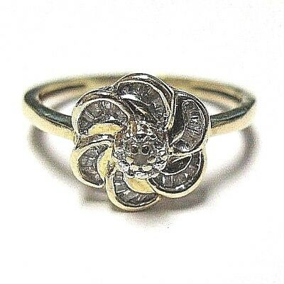 - 14k Yellow Gold Genuine Diamond Round & Baguette Floral Swirl Design Ring Sz 7.0