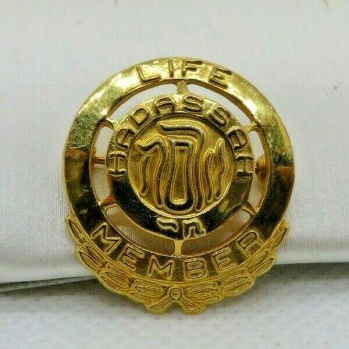 "1/20 10k Gold Filled Pin ""Hadassah Life Member"" Zionist Judaica"
