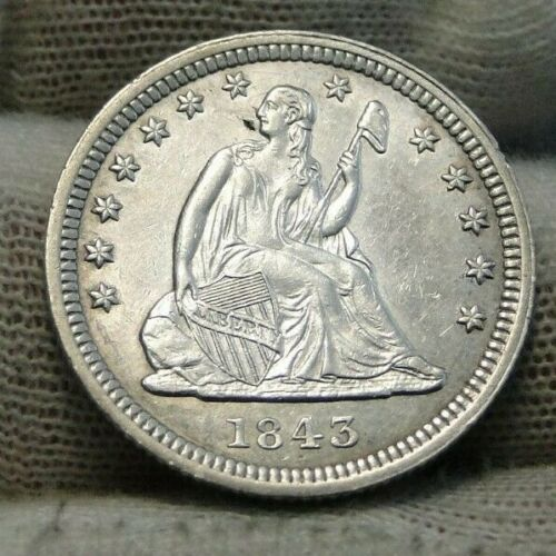 1843 Seated Liberty Quarter 25 Cents - Semi-Key Date, Nice (9242)