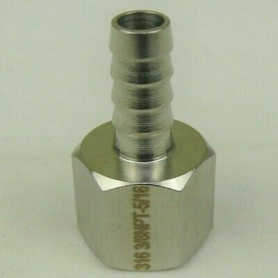 316 Stainless Steel 516 Hose Barb To 38 Female Npt Ss Pipe Fitting Coupler