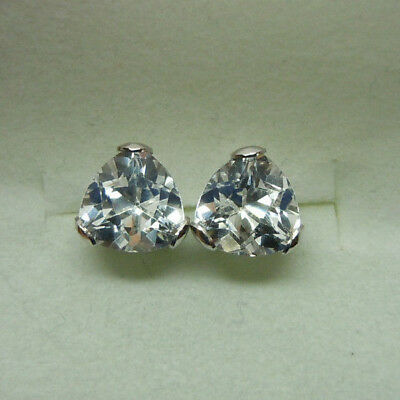3ctw genuine TRILLION WH TOPAZ stud earrings 14k WHITE gold 14kt - 14k Genuine White Topaz Earrings
