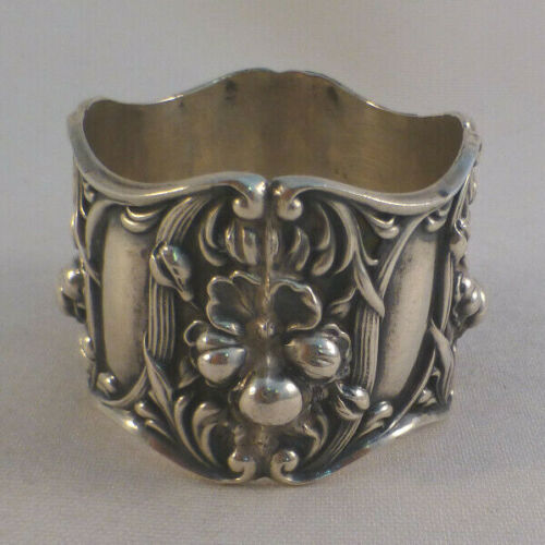 """Great Floral Sterling Napkin Ring-1 3/8"""" Wide"""