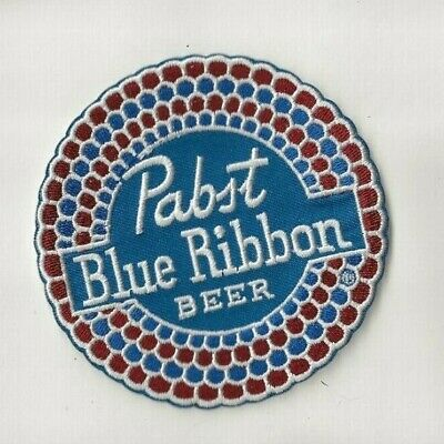"""NEW 3 1/2"""" PABST BLUE RIBBON IRON ON PATCH FREE SHIP C1"""