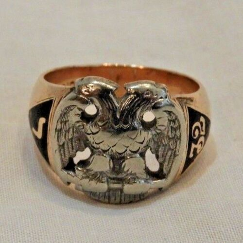 Antique 10K Gold 32nd Degree Double Headed Eagle Masonic Ring Size 9
