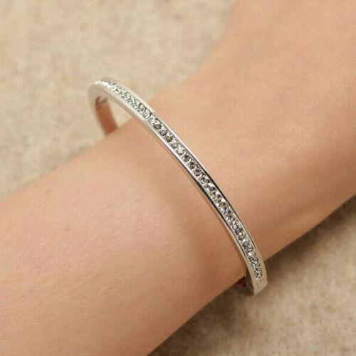 14k White Gold Finish 2.40ct Diamond Fancy Bangle Bracelet