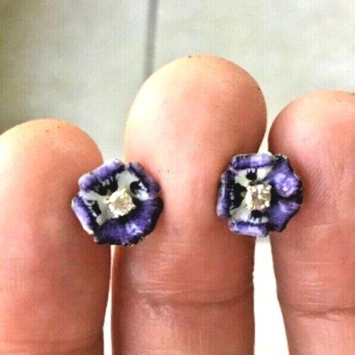 Antique Nouveau Estate 14k Gold 0.10ctw Diamond Purple Pansy Flower Enamel Stud