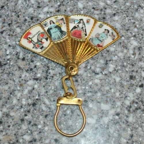Vintage Souvenir Portugal Fan Keychain Metal Fan Key Chain - Scenes of Portugal