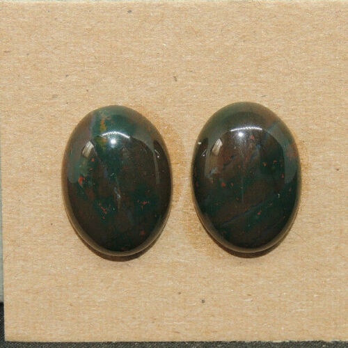 Bloodstone Cabochons 13x18mm with 6mm dome set of 2 (17246)