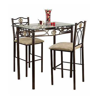 Small Kitchen Board Chairs Counter Height Bistro Breakfast Nook Glass Top