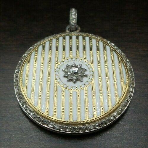 Antique 1900s French or Russian Platinum, 18K Gold, Diamond & Enamel Pendant