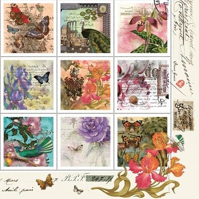 4 x Table Paper Napkins,Decoupage/Dining/Craft/Shabby/Vintage Style Stamps