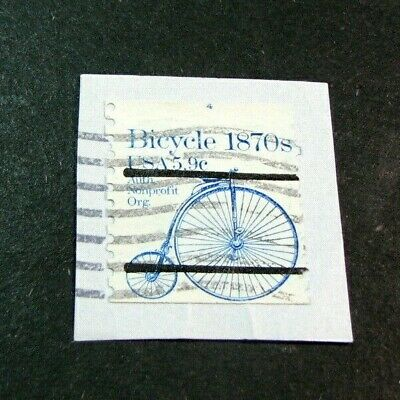 US  Stamp Scott# 1901a Bicycle 1982 P# 4 at top Used 0n paper H184