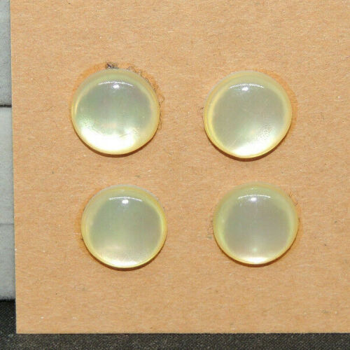 Pale Yellow Mother of Pearl Cabochons 10mm with 3.5mm dome Set of 4 (14774)
