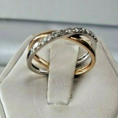 GORGEOUS! 10K 2-TONE WHITE and YELLOW GOLD SWIRL DESIGN DIAMOND BANDS RING *NICE ()
