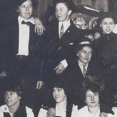 Halloween Gender Bender (1910s REAL PHOTO POSTCARD HALLOWEEN? GENDER BENDER GIRLS & GUYS HAVING)