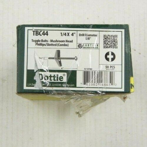 """(50) DOTTIE TOOL TBC44 1/4"""" X 4"""" Toggle Bolts Phil/Slot Mushroom Head NEW"""