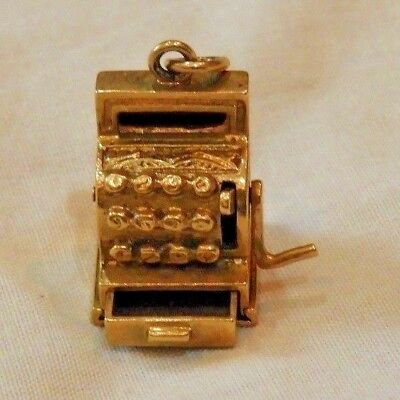 Vintage 14K Yellow Gold Old Fashioned Cash Register Charm with an Opening Drawer
