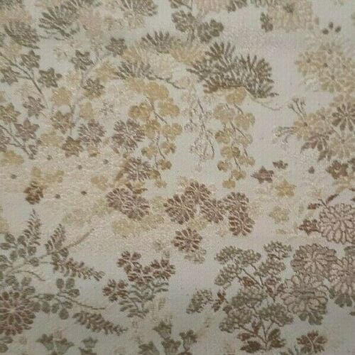 "ANTIQUE JAPANESE SILK BROCADE FABRIC - FLOWERS - 166"" BY 27"""