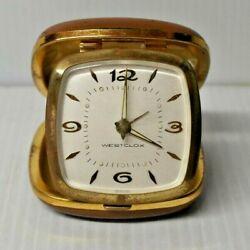 Westcox Genuine Tan Cowhide Travel Alarm Clock Mid Century Wind Up in case