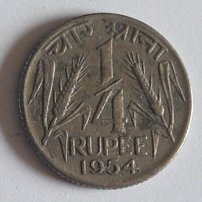 INDIA-REPUBLIC 1/4 RUPEE 1954