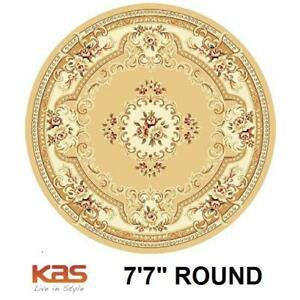 """NEW KAS RUGS 7'7"""" ROUND AREA RUG 139717216 AUBUSSON COLLECTION BEIGE IVORY CARPET CARPETS FLOORING DECOR ACCENTS MAT ..."""