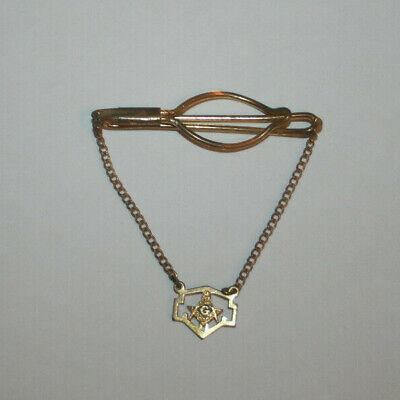 Men's 1920s Style Ties, Neck Ties & Bowties Antique Mens Gold Tone HANGING CHAIN TIE SLIDE MASONIC G. - 1920s $12.50 AT vintagedancer.com