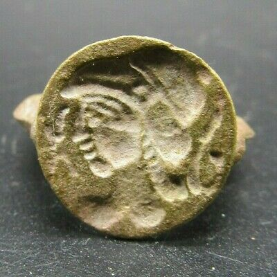 Greek style brass seal ring
