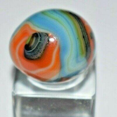 JABO, Mulit-Color Egg Shaped Swirl Toy Marble, Size .725 x .710 MINT!