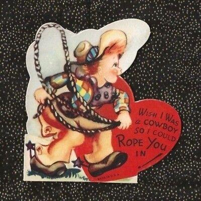 Unsigned Vintage Die Cut BOY COWBOY LASSO ROPE Spurs Hat Chaps ROPE YOU IN! (Die Spurs Hat)